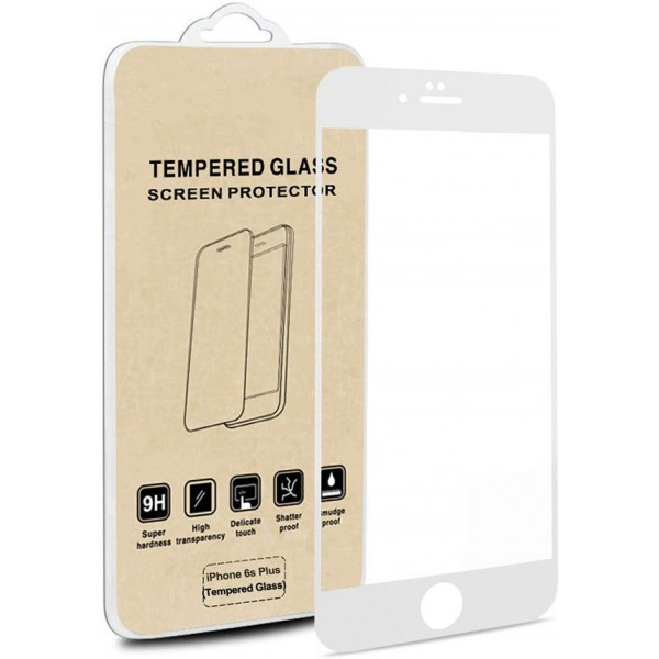 iPhone 6S Plus Screen Protector / 6 Plus - Racdde Full Screen Tempered Glass Screen Protector Film, Edge to Edge Screen Film Guard Saver for Apple iPhone 6S Plus / 6 Plus 5.5-Inch (1 Pack, Clear/White)