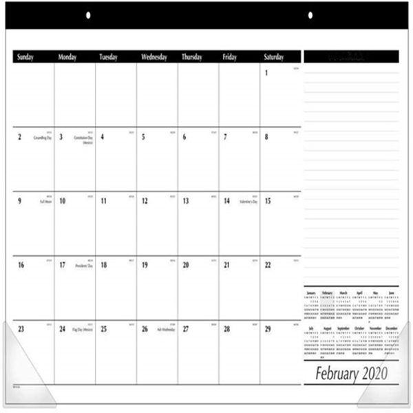 "Racdde 2020 Desk Calendar, Desk Pad, 17-3/4"" x 11"", Compact, Black/White (SK1400)"