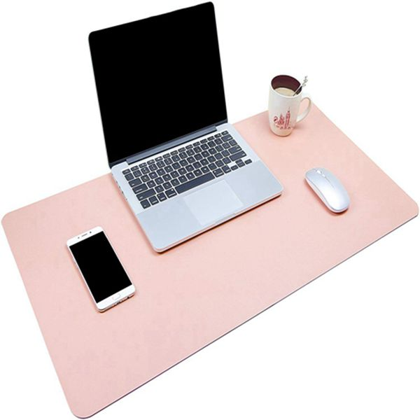 """Racdde Multifunctional Office Desk Pad, Ultra Thin Waterproof PU Leather Mouse Pad, Dual Use Desk Writing Mat for Office/Home (31.5"""" x 15.7"""", Pink)"""