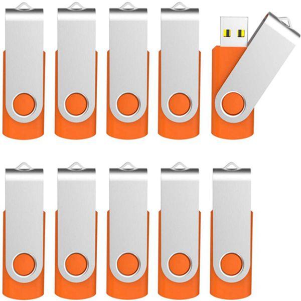 Racdde 10 Pack 4 GB USB Flash Drive 4gb Flash Drives Keychain Thumb Drive Swivel Memory Stick Orange
