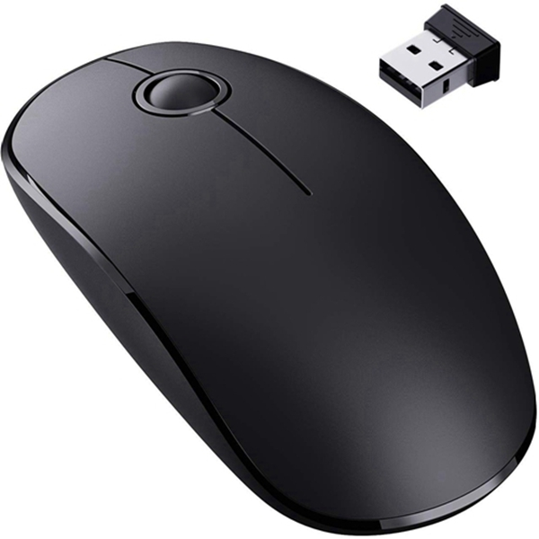 Racdde [Upgraded] Slim Wireless Mouse, 2.4G Silent Laptop Mouse with Nano Receiver, Ergonomic Wireless Mouse for Laptop, Portable Mobile Optical Mice for Laptop, PC, Computer, Notebook, Mac - Black