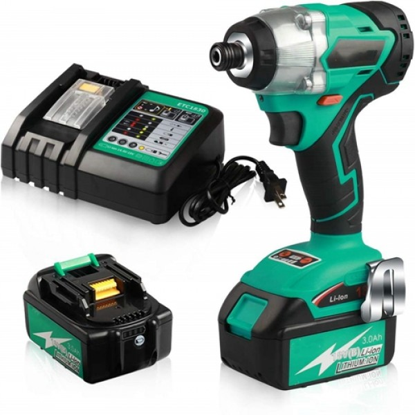 """Racdde Cordless Impact Driver Brushless Motor ¼"""" 3097 in.lbs 4 Speed with 2 x 3.0Ah Battery and 1 x 30 mins Fast Charger ET02C"""
