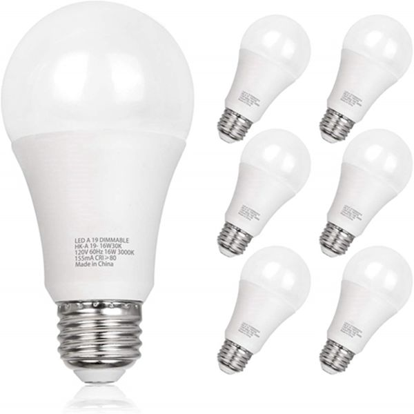 Racdde 100W Equivalent A19 LED Light Bulb, 16W, 5000K Daylight, 1600LM, E26 Medium Base, Dimmable, UL Listed (6 Pack)