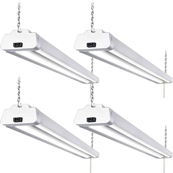 Racdde 5000K LED Shop Light Linkable, 4FT Daylight 42W LED Ceiling Lights for Garages, Workshops, Basements, Hanging or FlushMount, with Plug and Pull Chain, 4200lm, ETL- 4 Pack
