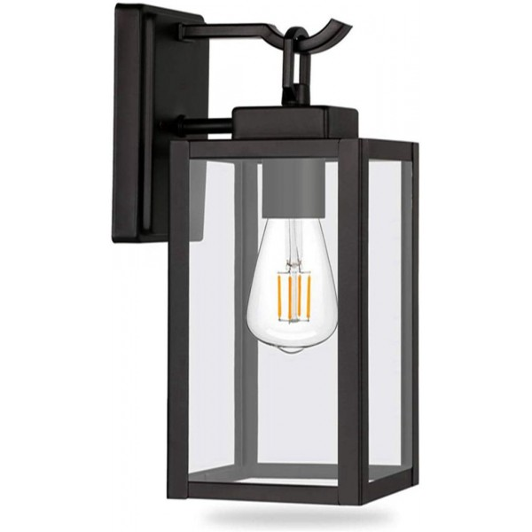 Racdde Outdoor Wall Sconce, Matte Black Wall Light Fixtures, Architectural Fixture with Clear Glass Shade ETL List for Entryway, Porch, Doorway