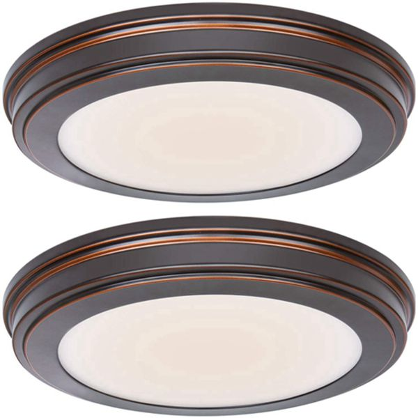 13 inch Oil Rubbed Bronze LED Ceiling Flush Mount, 3000K/4000K/5000K Switch 1365LM, 180W Incandescent Equivalent,CRI90 LED Round Ceiling Light Fixture for Bathrooom Bedroom Dining Room Office