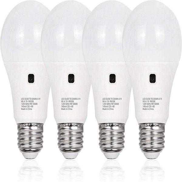 Racdde 4 Pack Dusk to Dawn A19 Light Bulb, Auto On/Off Light Sensor LED Bulb, 9W=60W, 3000K Warm White, 800LM, E26 Base, Non-Dimmable, UL Listed