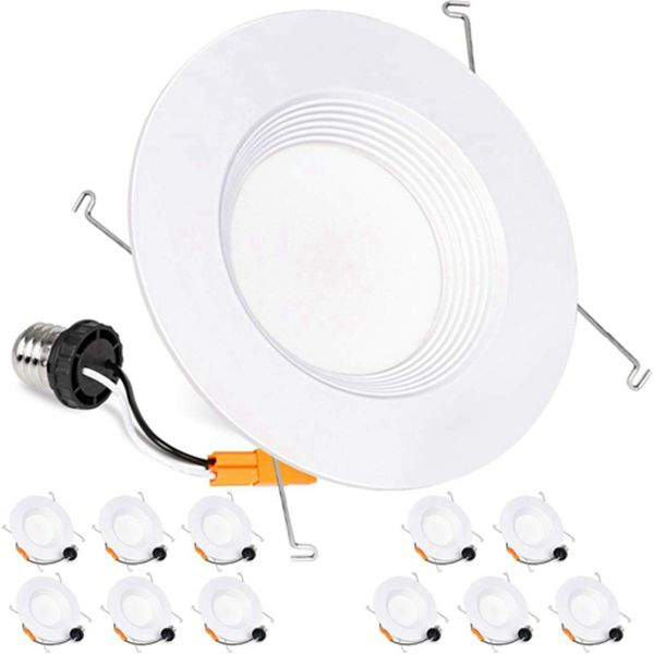 Racdde 12 Pack 5/6 Inch LED Recessed Downlight Dimmable, Baffle Trim, CRI90, 12W=100W, 1000lm, 5000K Daylight LED Recessed Retrofit Can Light, Wet Rated, ETL Listed