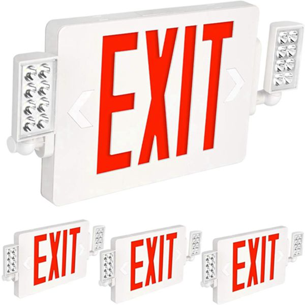 Racdde Ultra Slim Red Exit Sign, 120-277V Double Face LED Combo Emergency Light with Adjustable Two Head and Backup Battery - 4 Pack