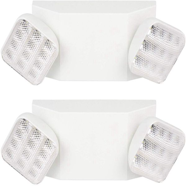 Racdde Two Head Emergency Light, Adjustable Integrated LED Wall Mount White with Battery Back-up - 2 Pack