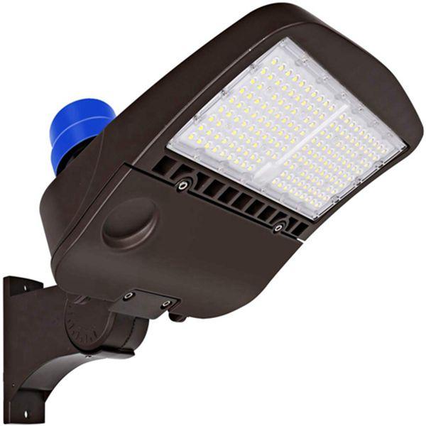Racdde 150W LED Parking Lot Light with Photocell, 19500lm 5000K Waterproof LED Shoebox Fixture, Outdoor Pole Mount Light for Large Area Lighting [400w HPS Equivalent] Arm Mount DLC Complied