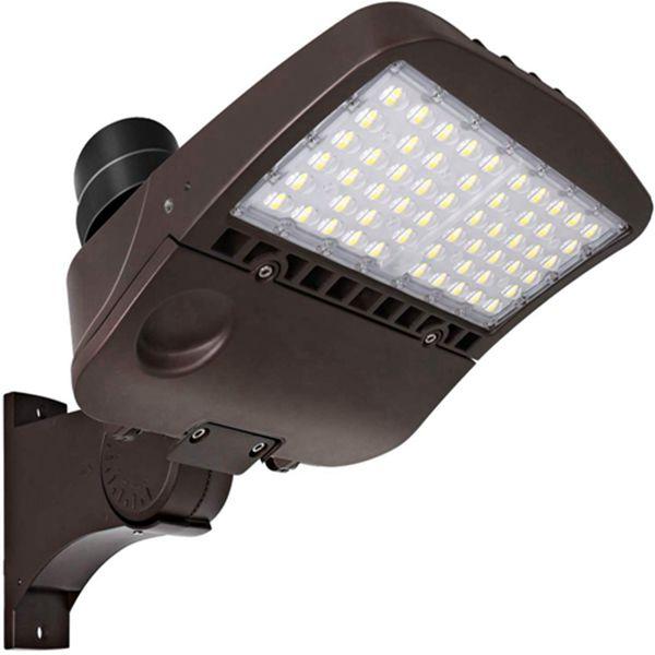 Racdde 200W LED Parking Lot Lights, 26000lm Commercial LED Area Lighting, Waterproof Pole Mounted Shoebox Light, 5000K [400w Equivalent] Arm Mount DLC Complied