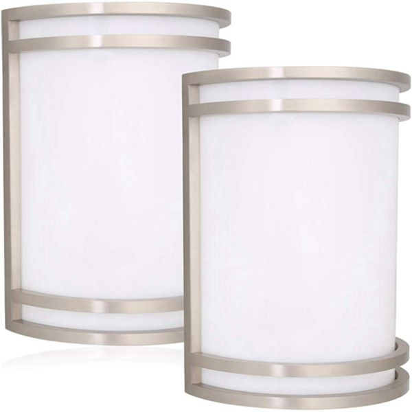 Racdde Outdoor Wall Sconce, Brushed Nickel 12W LED Wall Mount Light Fixture, Residential 4000K Nature White LED Wall Lighting, Dimmable, Wet Location 75W Incandescent Equivalent ETL Listed - 2 Pack
