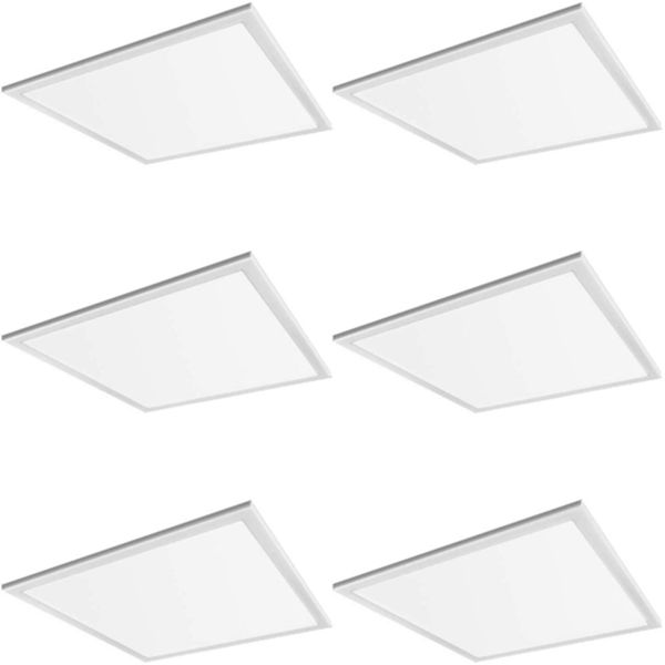 Racdde 2x2 FT White LED Flat Panel Troffer Light, 40W 5000K Recessed Edge-Lit Drop Ceiling Light, 4200lm Lay in Fixture for Office, 0-10V Dimmable, 3-Lamp F17T8 Fixture Replacement, 6 Pack