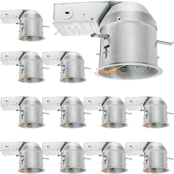 Racdde 12 Pack 4 Inch Recessed Lighting Housing Remodel, Shallow Type Airtight IC Can Housing with TP24 Connector for LED Recessed Downlight Retrofit Kit, Recessed Light, ETL Listed
