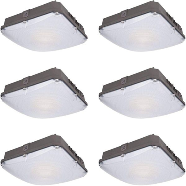 Racdde 70W LED Canopy Light, 8400lm Outdoor LED Parking Garage Lights, Wet Rated Low Bay Soffit Lighting Fixture for Apartment Carport, 5000K, 1-10V Dimmable [400W MH Equivalent] - 6 Pack