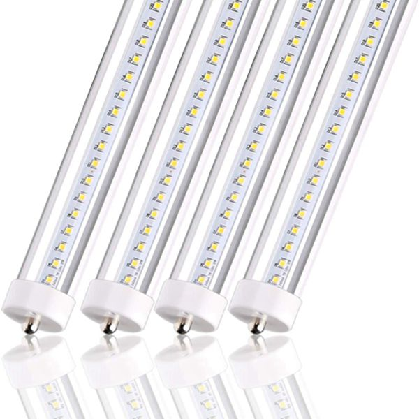 Racdde T8 T10 T12 LED Tube Light 8FT 50W [100W Equivalent] 5000lm 5000K Daylight Clear, FA8 Dual-End Powered Ballast Bypass F96T12 Fluorescent Replacement, Garage, Warehouse, Shop Light-4 PACK