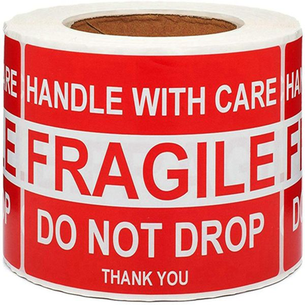Racdde Large Fragile Stickers 4'' x 6'' Eye-catching Fragile - Handle with Care - Do Not Drop - Thank You Shipping Labels(500 Labels/Roll) (1 Roll)