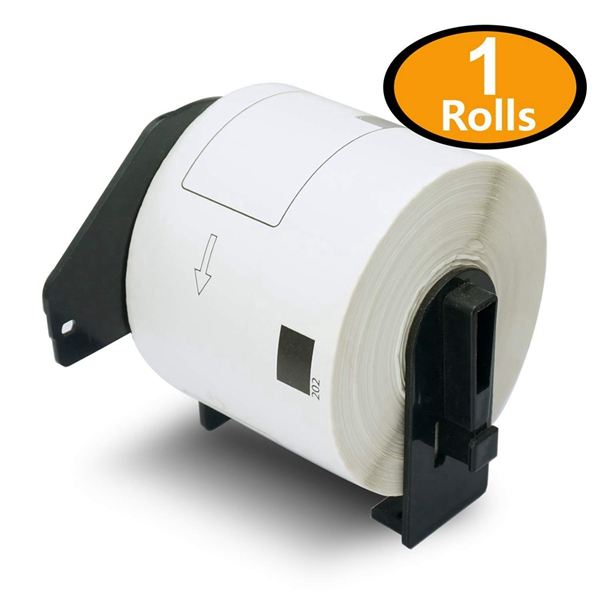 """Racdde - Compatible DK-1202 (2-3/7"""" x 4"""") Replacement Shipping Labels,Compatible with Brother QL Label Printers[1 Rolls/300 Labels with Refillable Cartridge Frame]"""