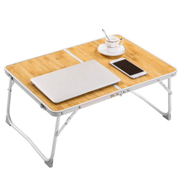 Racdde Foldable Laptop Table Lapdesk, Breakfast Bed, Portable Mini Picnic Desk,Notebook Stand Read Holder for Couch Floor,Folding in Half w' Inner Storage Space, Aluminum Alloy Leg-Bamboo Wood Grain