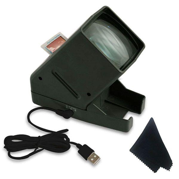 Racdde USB Powered 35mm Negative Slide Film Viewer, Old Slides Scanner Portable LED Lighted Negative Viewing – 3X Magnification, Handheld Projector Suit for 2 × 2 Slides
