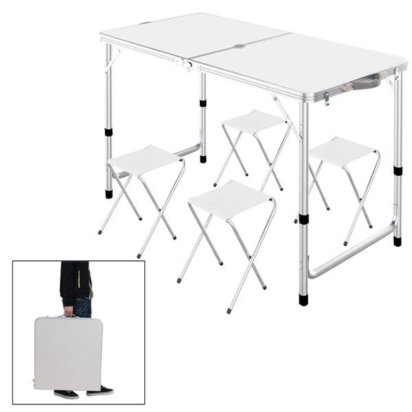 Racdde Outdoor Picnic Table, Portable Height Adjustable Aluminum Lightweight Camping Travel Party Dining Garden Desk Table with 4 Folding Stools & Umbrella Hole, Picnics, Camping Trips, Buffets or Barbecues