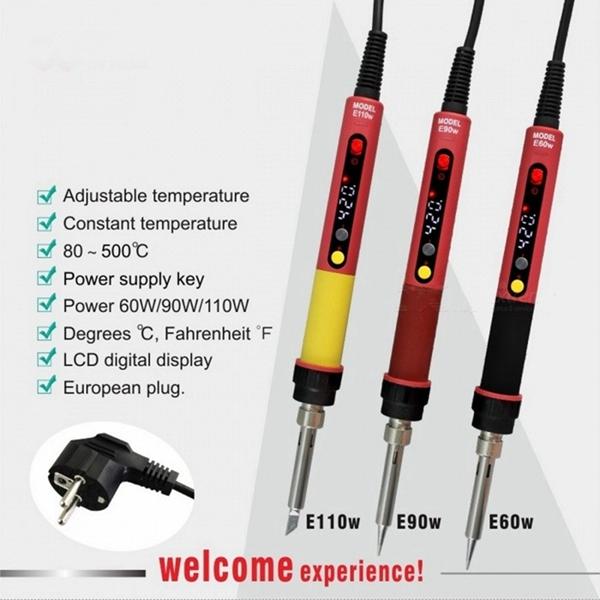 Racdde E60W Professional Adjustable LED Digital Electric Soldering Iron Constant Temperature Soldering Station E90W E110W EU/E60W