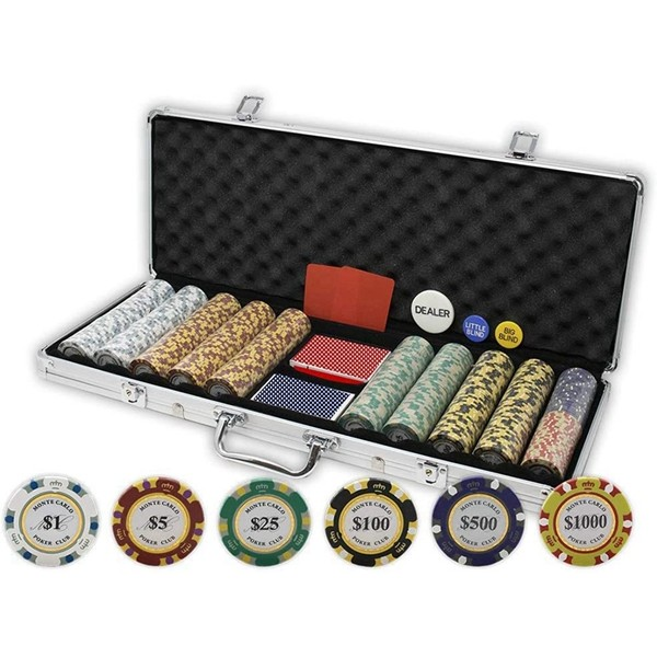 Racdde Monte Carlo Poker Club Set of 500 14 Gram 3 Tone Chips with Aluminum Case, Cards, 2 Cut Cards, Dealer and Blind Buttons
