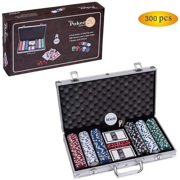 Racdde Poker Chip Set for Texas Holdem, 300 PCS Casino Poker Chips Set with Aluminum Case (11.5 Gram)