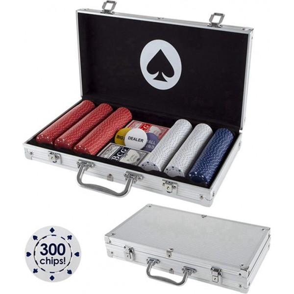 Racdde Card Suits Poker Chip Set- 300 Pieces of 11.5-Gram Composite Gambling Chips-Aluminum Case, 2 Decks of Cards, Dealer & Blind Buttons