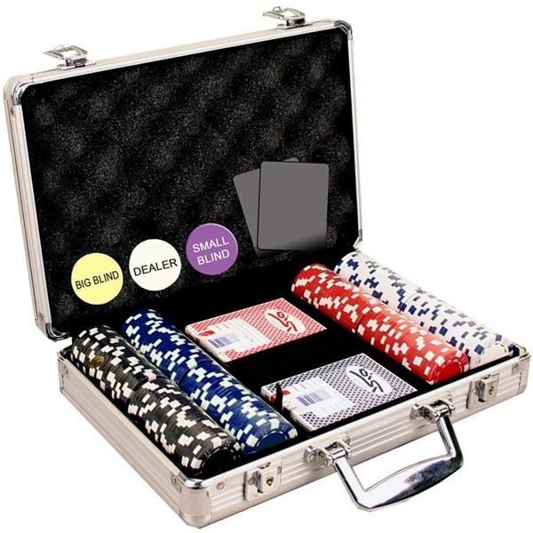 Racdde 200 Dice Striped 11.5 Gram Poker Chip Set with Aluminum Case, Dealer Button, 2 Decks of Cards