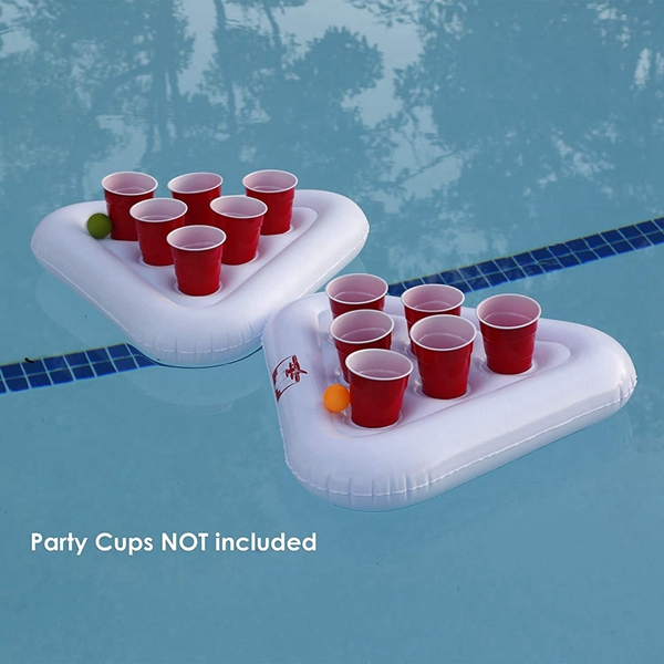 Racdde Inflatable Beer Pong Floats 2-Pack, 2 Racks with 3 Balls Set, Pool Party Beer Pong Drinking Game | Inflatable Beer Pong Table | 6 Cup Capacity Each Side | Floating Pong Game for Parties
