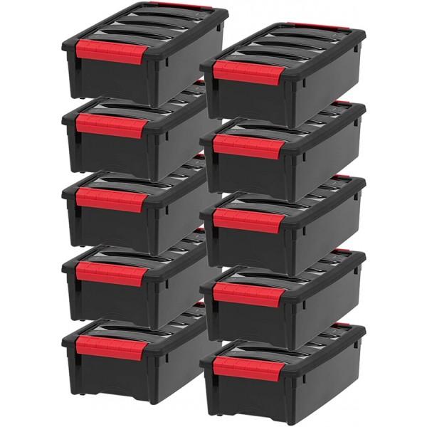 Racdde, Inc TB-35 Stack & Pull Storage Box, 5 Quart, Black