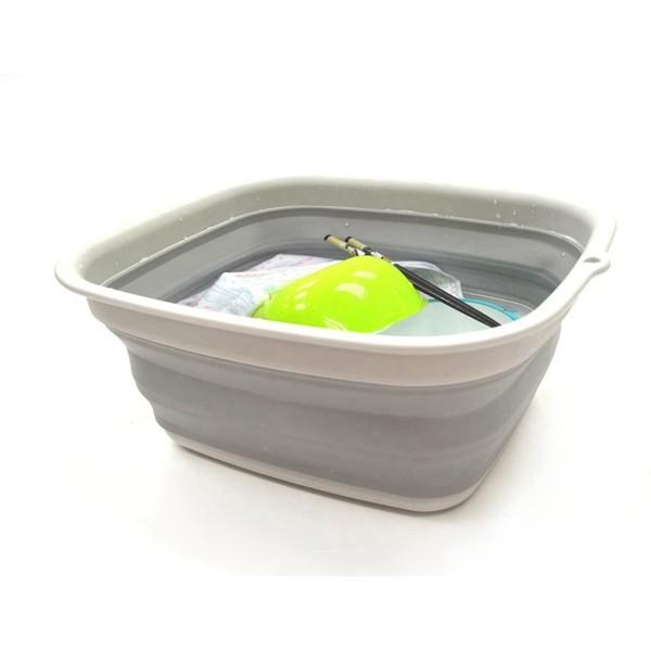 Racdde 7.7L (2 Gallon) Collapsible Tub - Foldable Dish Tub - Portable Washing Basin - Space Saving Plastic Washtub (Grey, S)