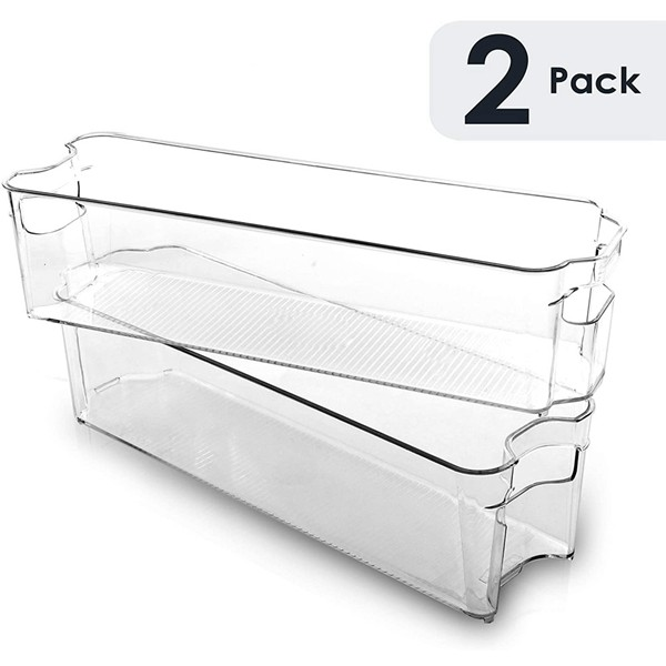 Racdde Stackable Plastic Organizer Storage Bins, Small - 2 Pack - Pantry Organization and Storage Refrigerator Organizer Bins Fridge Organizer Freezer Organizer Pantry Organizer Pantry Storage