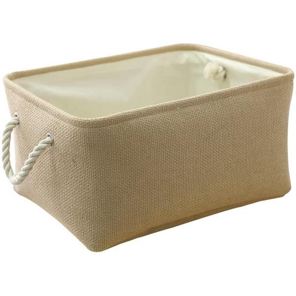 Racdde Decorative Basket Rectangular Fabric Storage Bin Organizer Basket with Handles for Clothes Storage (Beige, 11.8L×7.9W×5.2H inch)