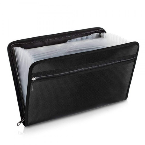 """Racdde Expanding File Folder Accordion Document Organizer Fireproof and Waterproof Document Bag with A4 Size 13 Pockets Zipper Closure Non-Itchy Silicone Coated Portable Filing Pouch (14.4""""x10.2"""")"""