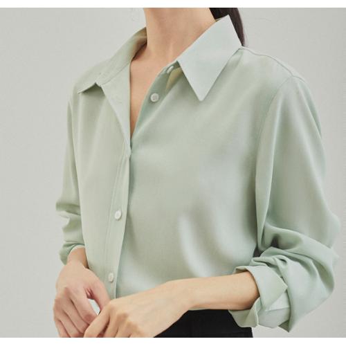 racdde Orange Desire long-sleeved chiffon shirt female 2021 summer new solid color career shirt design sense niche